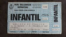 RÉAL VALLADOLID AS MONACO TICKET COUPE des coupes COLLECTOR 1989 1990 ASM ESPANA