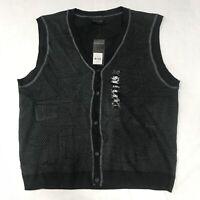 🌴NWT Geoffrey Beene Men's 2XL Black Button Down Sleeveless Vest $65🌴
