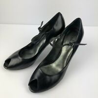 Enzo Angliolini , Women's Shoes Open Toe Heels , Black Leather, Size 10 M