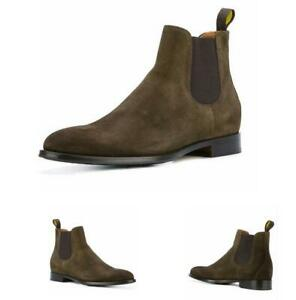 British Mens Suede Leather Slip On Ankle Chelsea Boot Casual Pointy Toe Shoes Sz