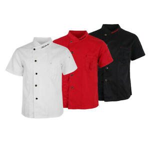 Unisex Cool Chef Jackets Short Sleeves Coat Waiters Shirt Hotel Kitchen Uniforms