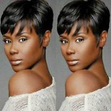 Women Boy Cut Short Straight Wig Pixie Real Hair Black African Natural Full Wigs