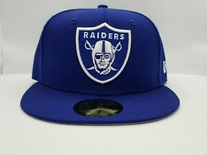 NEW ERA 59FIFTY FITTED HAT.  NFL.  RAIDERS. ROYAL BLUE.