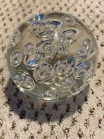 """Artisan Round Art Glass Paperweight Hand Blown Sphere Controlled Bubbles 3.5"""""""