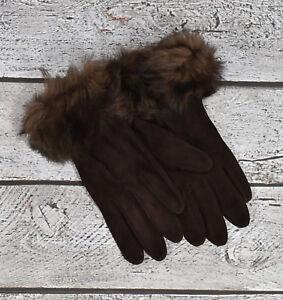 Ralph Lauren Purple Label Brown Suede Silk Shearling Fur Gloves New $350