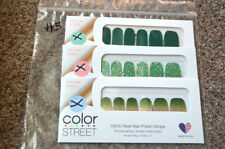NEW Lot (3) RETIRED Color Street Sets SOLIDS GLITTER- Green Gold