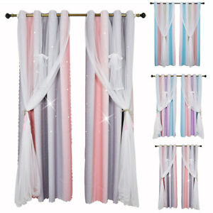 Double Layers Starry Blackout Window Curtain Voile Yarn Drapes Kids Bedroom Home