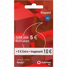 Prepaid SIM-Karte Einsatzbereit Vodafone NL 10 € Guthaben Aktiviert und Anonym