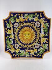 Centrotavola vassoio svuota tasche piatto sole in ceramica di Caltagirone L.34cm