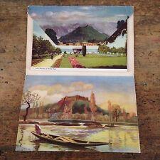 Vtg India Kashmir Postcard Booklet Dal Lake Nagin Nishat Bagh 10 Views Accordion