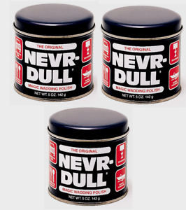 3 Nevr-Dull Metal Polish 5oz Cotton Wadding Cloth Polishes All Metals No Residue