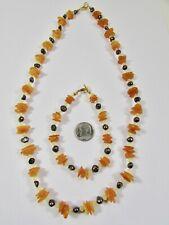 Lee Sands Butterscotch Amber w Bronze Pearls NK & ER Set Vintage