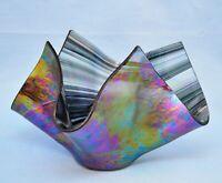 DARROL / ORREN ELLIS ART GLASS STUDIO FREEFORM IRIDESCENT MODERN BOWL SIGNED