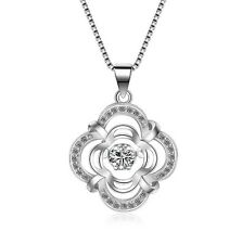 Dancing Cubic Zirconia Sterling Silver Flower Halo Pendant Necklace Gift Box