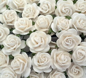 100 Mulberry Paper Flowers Roses Wedding Card Headpiece art craft supply R3-15