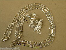 Men's Lady's Silver Plated Rooster Charm & 24in Long 4mm Wide Figaro Chain Set