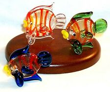 "Fish ArtGlass 1"" MINI figurines Weeping Fish design assorted colors 6 pcs."