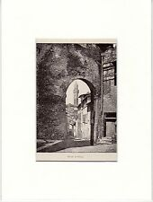 Antique matted print street Siena Tuscany Italy / stampa antica Sienna 1893