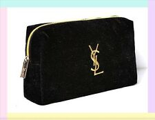 YSL Yves Saint Laurent Parfums Cosmetic Bag Pouch Black Clutch New USA Seller
