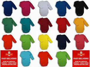 boy girl bodysuits longsleeves vest plain colour cotton 0-3-6-9-12-18-24months