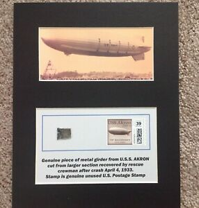 MATTED  PIECE OF AIRSHIP U.S.S. AKRON WITH UNUSED 39 cent POSTAGE STAMP