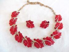 Vtg RARE Signed Lisner Red Jelly Lucite Leaf & Rhinestone Necklace Earrings Set