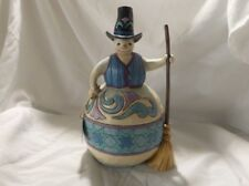 "JIM SHORE'S SNOWMAN WITH TOP HAT & BROOM FIGURINE ""ROLLING BY TO SAY HELLO"""