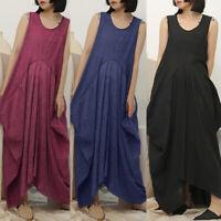 UK Women Sleeveless Crewneck Tunic Shirt Maxi Tank Dress Summer Baggy Sundress
