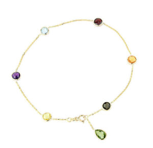 14K Yellow Gold Gemstone Anklet With A Green Amethyst Drop 10 Inches