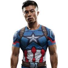 Men's Marvel Compression T Shirts Short Sleeve Superhero Top Cycling Spiderman