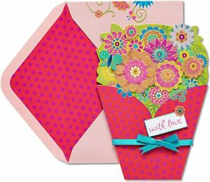 Papyrus Birthday Card beautiful birthday bouquet & butterfly - filled with love