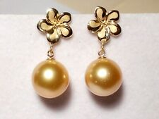 10.5mm rich golden South Sea pearl dangle earrings, solid 14k yellow gold.