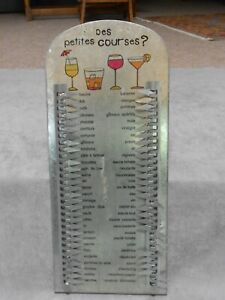 French metal SHOPPING MEMO LIST COMMISSIONS Plaque  Sign