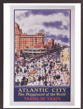 Atlantic City The Playground Of The World Travel by Train Railroad Ad Postcard