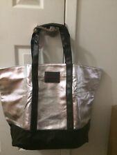 VICTORIAS SECRET VS Silver and Black Large Zipper Tote Bag Weekender NWT