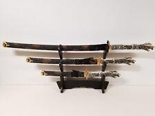 Highlander Swords Japanese Samurai Katana set of 3 with Display Stand Decoration