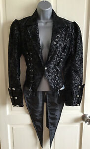 Living Dead Souls ⭐️Ladies Size S Black Brocade Tail Coat ⭐️Great Condition