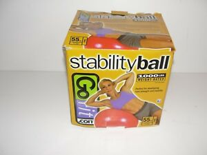 """GoFit Stability Ball RED 1000 Lbs 55cm Small  People 5' to 5'5"""""""