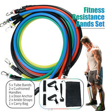 11PCS Resistance Band Yoga Pilates Abs Exercise Fitness Tube Workout Bands USA