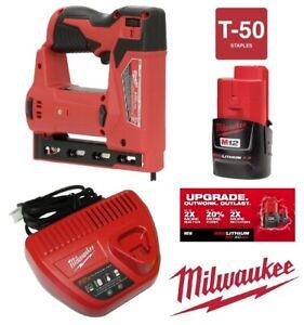 "New Milwaukee  2447-20 M12 Lithium-Ion 3/8 "" Crown Stapler Kit 2.0Ah Bat.& Chg"