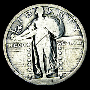 1921 Standing Liberty Quarter Silver ---- Nice Details Rare US Coin ---- #E594