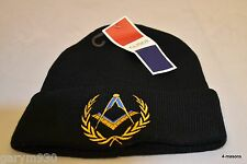 Masonic Beanie or Ski Hat with Square and Compasses  design in Black