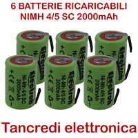 6x Batteria ricaricabile Ni-Mh 4/5 SC 1,2V 2000mAh 2000mA con linguette saldare
