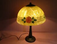"""Antique Handel Arts & Crafts Chipped Ice Roses & Thorns Table Lamp Signed 20"""""""