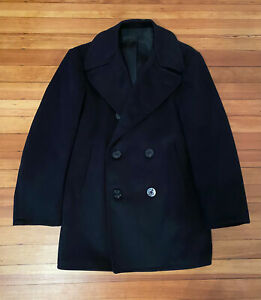 U.S Navy Military Issued 1960s Kersey Melton Wool Peacoat, size 38R