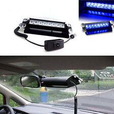 STROBO AUTO 8 LED BLU EMERGENZA LAMPEGGIANTE FLASH ATTACCO VETRO VENTOSE 12V PKR