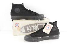 NOS Vtg 90s Converse All Star Hi Chuck Taylor Shoes Black Monochrome USA 10.5