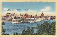 Albany Skyline, Named Buildings, Hudson Steamer, Albany, NY, Linen  Postcard