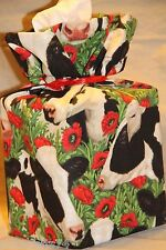 Black & White Cow and Red Flowers cotton fabric cube tissue cover gift bag