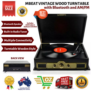 MBeat Vintage Vinyl Turntable with USB, Tuner, Bluetooth Player and Speakers